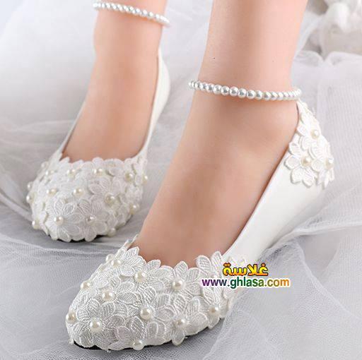 صور حذاء فستان الزفاف الابيض 2018